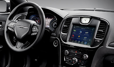 2017 Chrysler 300 S Canada-3-spoke, leather-wrapped steering wheel with large audio and vehicle controls.